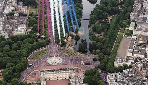 Red Arrows over Buckingham Palace